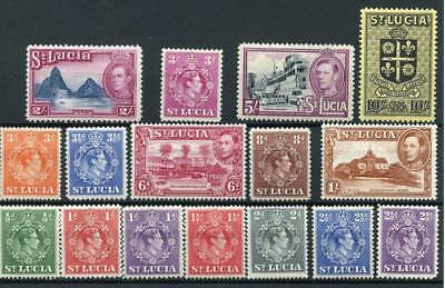 St Lucia 1938-48 short set to 10s SG128/38 MM