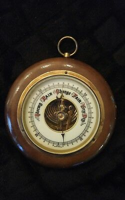 Old Vtg Wood Stormy Rain Change Fair Very Dry Barometer Round West Germany