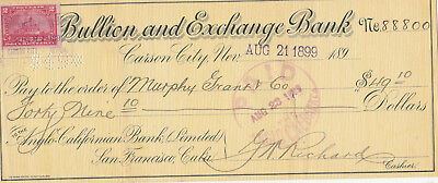 The Bullion And Exchange Bank, Carson City, Nevada  1900  With Revenue