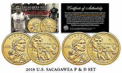 2018 US MINT Native American JIM THORPE $1 Dollar Sacagawea 2-Coin Set Both P&D
