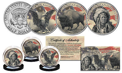 NATIVE AMERICAN SYMBOL JFK Half Dollar 3-Coin Set BLACK EAGLE INDIAN CHIEF BISON