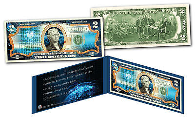 Cryptocurrency Block Chain Physical Commemorative Collectible Genuine US $2 Bill