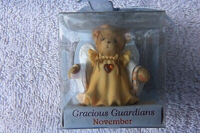 Cherished Teddies Gracious Guardians November Topaz Boxed Item #114490  LL 338