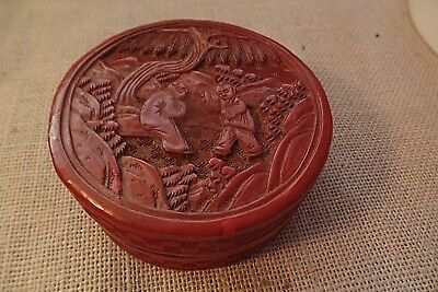 """Vintage/antique Chinese Red Cinnabar 4"""" Box Round  Flat Top  As Is"""
