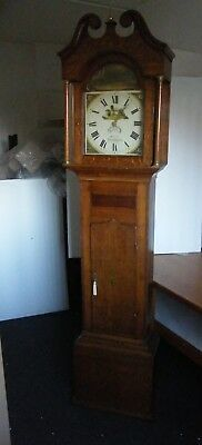 Blunt of Northampton painted date dial face pendulum weight 30 hour finials nice