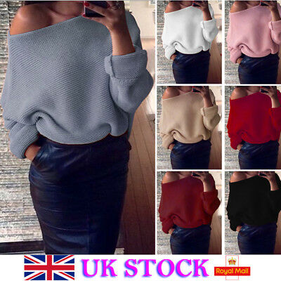 UK Womens Off Shoulder Pullover Knitted Sweater Plain Jumper Outwear Casual Tops