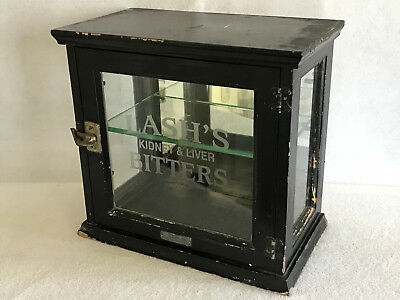c1901 Advertising Store Cabinet LASH'S KIDNEY & LIVER BITTERS Etched Glass