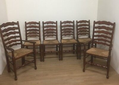 Set Of Rush Seated Country Dining Chairs