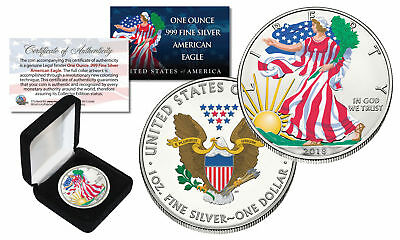 2018 1 oz Colorized 2-Sided American Silver Eagle (BU) with BOX & CERTIFICATE