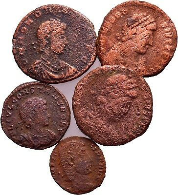 Roman coins, Lot of 5 Mixed Late Roman Coins