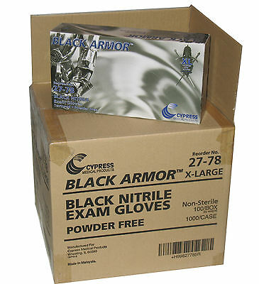 BLACK ARMOR Nitrile Disposable Glove Case of 1000 Extra Large Powder Free