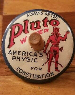 1915 RARE Promotional Ad Pluto Water Medicinal Laxative Tin Spinning Top Spinner