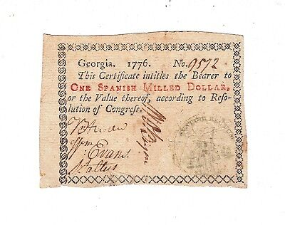 1776 Georgia Colonial Currency $1 Note / Blue-Green Seal / One Dollar / US USA