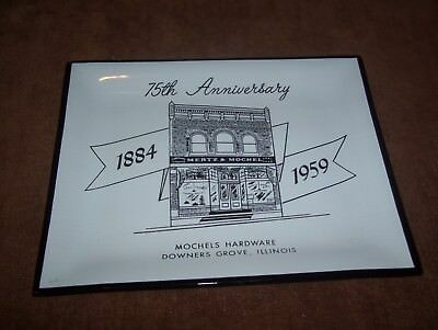 Vintage Mertz & Mochel Hardware Store Advertising Plate Tray Downers Grove IL