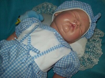 Blue and white Gingham, little boys romper suit size - 19-20 inches
