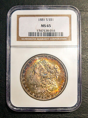 Well Struck, Toned Rainbow 1881-S Morgan Dollar MS-65 NGC MS65 1881S $1 Silver