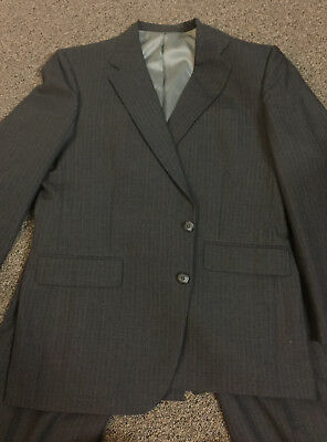 """VINTAGE 1980s Men's Suit Gray w/Pinstripes by Stafford 42R jacket 36""""x32"""" pants"""