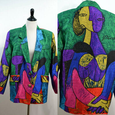Picasso | Medium | Large | Vintage 80s 1980s Picasso Oversized Blazer Colorful