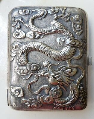 Antique Rare Silver Chinese Dragon Cigarette Case By Makers Mark 'khl'