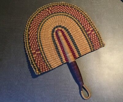 Gorgeous  Large African Market  Hand-Woven Bolga FAN Beautiful Colors