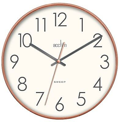 Acctim Hoxton 30cm Copper Colour Sweep Wall Clock with White  Dial