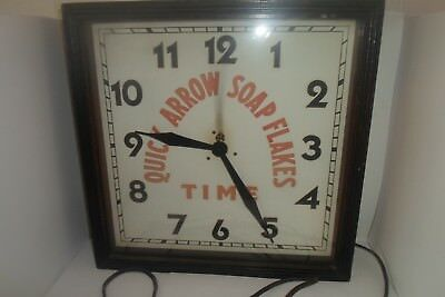 Antique Advertising Clock Quick Arrow Soap Flakes Time Carson Manuf. Chicago