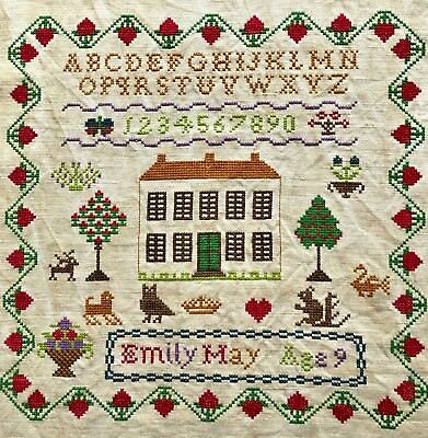 Antique Vintage Needlework Sampler With House By Emily May Age 9 -  Undated