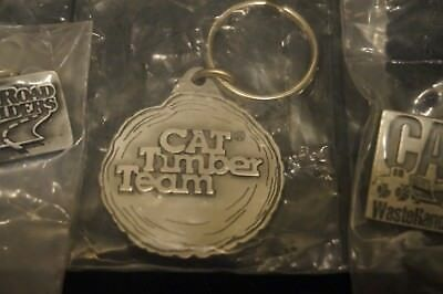 CATERPILLAR Timber Team Key Chain Road Builders Pin Waste Handlers Pin NEW