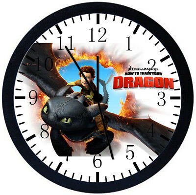 How to Train Your Dragon Black Frame Wall Clock Nice For Decor or Gifts E64