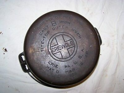 Vintage Griswold #10 Cast Iron Tite-Top Dutch Oven ,large Block,#835-Nice