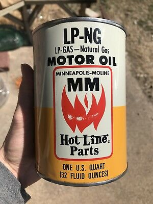Vintage Minneapolis Moline one Quart Oil Can Gas Oil Advertising