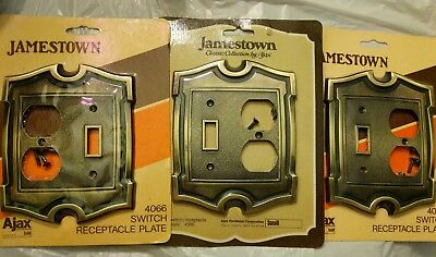 Vintage Ajax Hardware Jamestown Brass Switch & Outlet Cover Plate Combo #4066