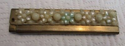 Vintage Ladies Brass And Faux Mother of Pearl Flowers Folding Comb