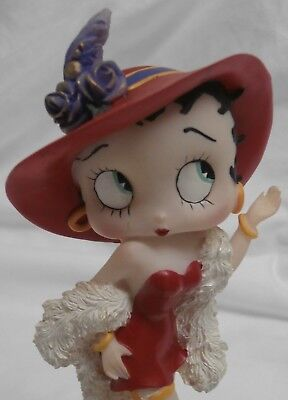BETTY BOOP MUSIC BOX - Red Hat Dress & Feather Boa Dog PUDGY Musical Figurine