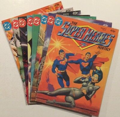 EIGHT Issues The SUPER HEROES Monthly British DC COMICS Magazine 1981 Anthology
