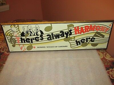"""CARSTAIRS Blended Whiskey sign """"There's always harmony here"""" (VERY COOL)"""