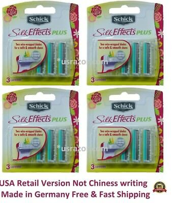 12 Schick Silk Effects Plus Razor Blades Refill Cartridges Women Shaver 3*4 USA