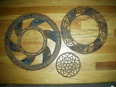 Antique Round Cast Iron 3 PCS Ceiling Grate Floor Heat Register Vent Victorian
