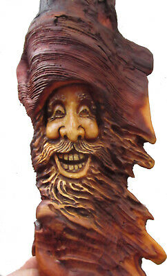 Wood Tree Spirit Log Home Gnome Cabin Wall Art Sculpture Carved Forest Face Knot