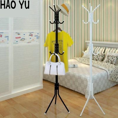 12Hook Coat Hat Rack Stand 3-Tier Metal Clothes Hanger Tree Holder Storage White
