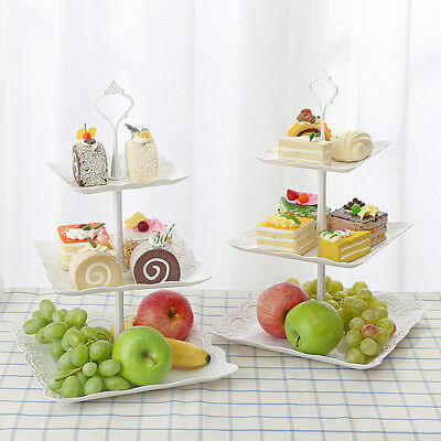 3 Tiers Square Fruit Cake Cupcake Stand Tree Tower Plate Birthday Wedding Party
