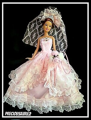 Barbie Doll Clothes Pink Wedding Dress/Party/Evening /Clothes/Outfit/New