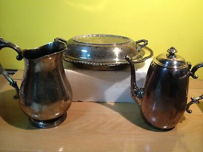 Beautiful Vintage Silver Plated Coffee Pot, Pitcher and Serving Dish
