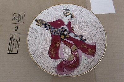 Big antique Japanese wall hanging porcelain plate, Geisha girl, signed