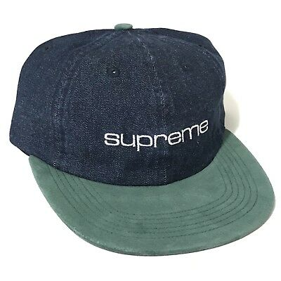 6785da1e884 SUPREME Denim Suede Hat Compact Logo 6Panel Blue SS18 NEW IN HAND Adult One  Size