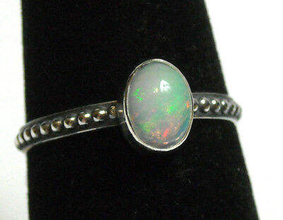 925 Sterling Silver Ring Size 7 Natural Blue Ethiopian Fire Opal Handmade NEW