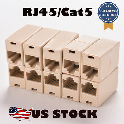 10X RJ45 Cat5e Straight Network Cable Ethernet LAN Coupler Joiner Connector 10PC