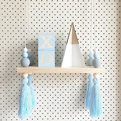 Nordic Wooden Bead Tassel Hanging Board Wall Ornament Room Decoration Decor Chic