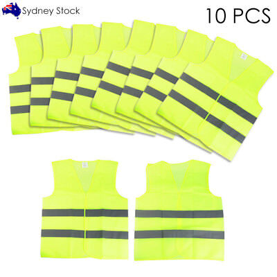 10 Pcs Hi Vis Vest Universal Fluorescent Yellow Safety Warning Vest Waistcoat