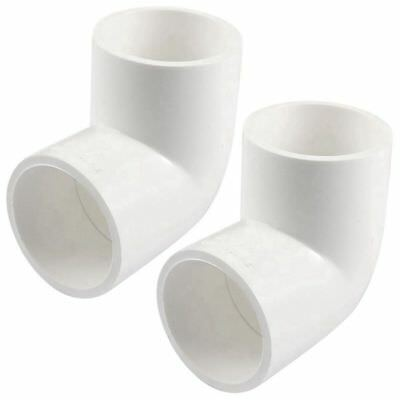 PVC 40mm Drainage Pipe Adapter Connector 90 Degree Elbow White 2 Pcs N1X6